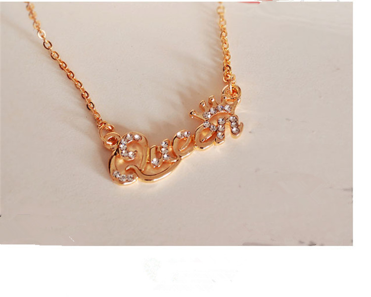 SHUANGR Luxury Gold-Color Queen Crown Chain Necklace Zircon Crystal Necklace Women Fashion Jewelry Birthday Present 9