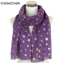 FOXMOTHER New Autumn Purple Navy Color Foil Gold Snowflake Scarfs Hijab Echarpe Wraps Glitter Shawl Foulard Women