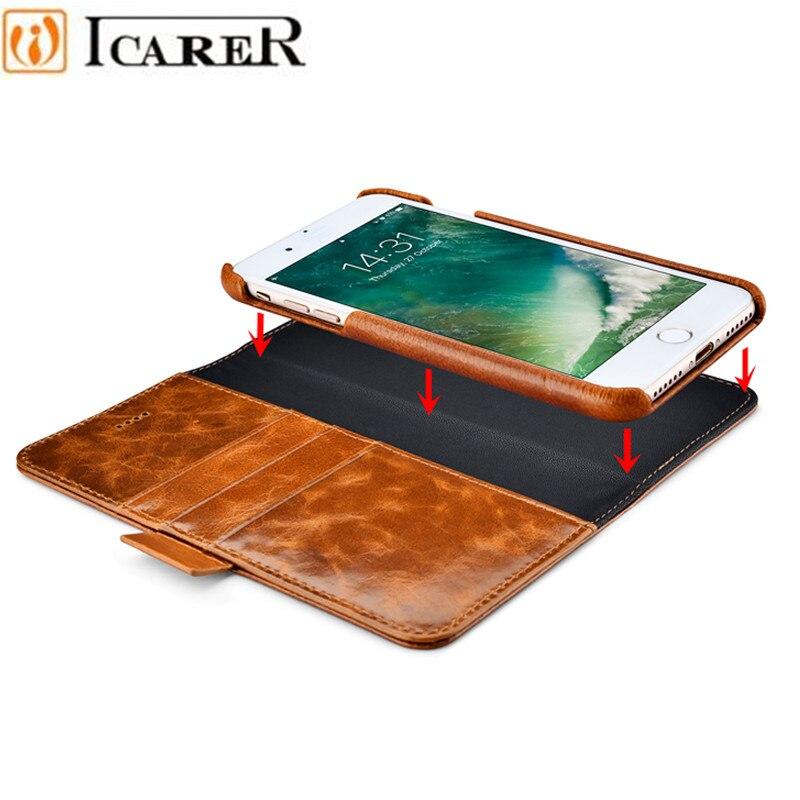 Цена за ICARER Масло Воск Из Натуральной Кожи Съемный 2 в 1 Бумажник Фолио Case для IPhone 7 7 Plus 6 6 S Плюс Магнитное Ремень Откидная Крышка
