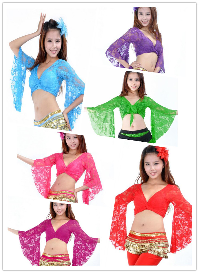 13 Candy Colors Belly Dance Clothes Tops Women Sexy Lace Top Front Cross Crop Halter Deep V Neck Flare Sleeve Top