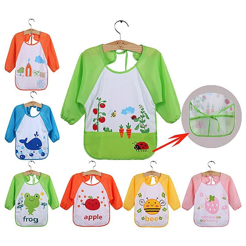 1pcs Cute Cartoon animals Baby Bibs Long Sleeve Apron Smock Soft Feeding Waterproof Colorful children Bib Burp Clothes