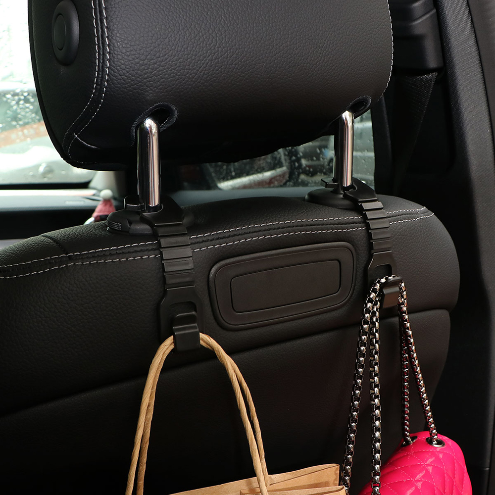 2Pcs Seat Back Headrest Hanger Hook Bag Purse Coat Holder Organizer Portable Car