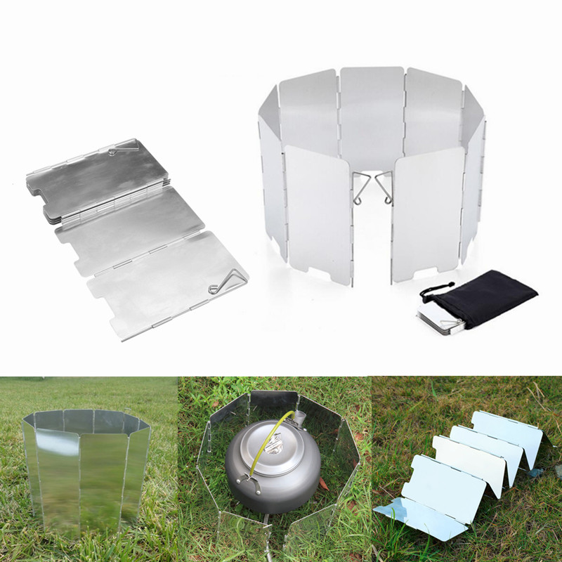 Outdoor 9 Plates Aluminum Alloy Foldable Camping Gas Stove Wind Shield Ultralight Screen Windshield Windproof Folding Screen