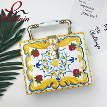Luxury carving design red rose flowers female box shape crossbody bags women party handbags ladies totes shoulder bags