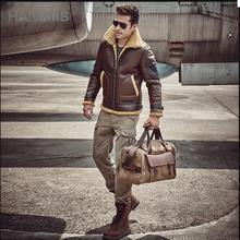 New Winter Men Genuine Leather Jacket Sheepskin Men's Jackets Air Force Flight Leather Coat