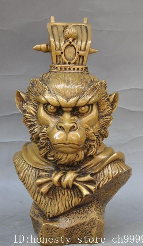 Crafts statue Myth Pure Bronze Sun Wukong Monkey Wang Head Bust Statue Sculpture halloween