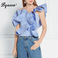Bqueen 2017 New Arrival Sexy Casual One Shoulder Backless Ruffles Short Strapless Striped Summer Women's Lady Tank Top