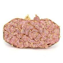 Rosa kupplung frauen partei taschen luxus kristall abendtaschen damen diamante geldbörse stieg blumenmuster soiree pochette 88301