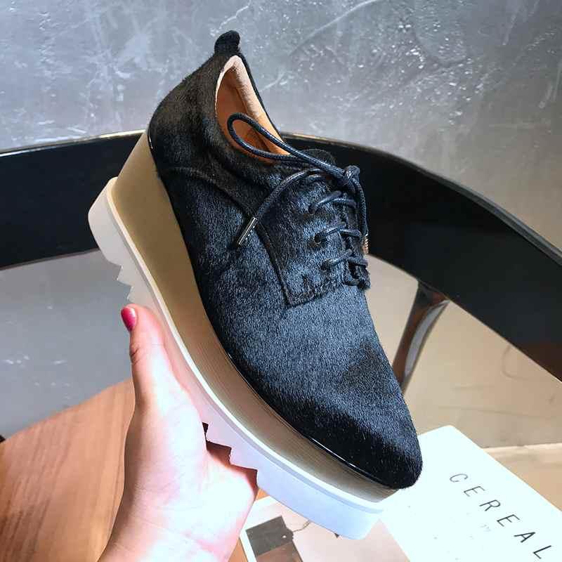 Krazing وعاء 2019 ريال الفراء السبيب أشار تو منصة عالية أزياء من الدانتل يصل سميكة أسفل الأصلي تصميم المصارع أحذية L18-في أحذية نسائية من أحذية على  مجموعة 2