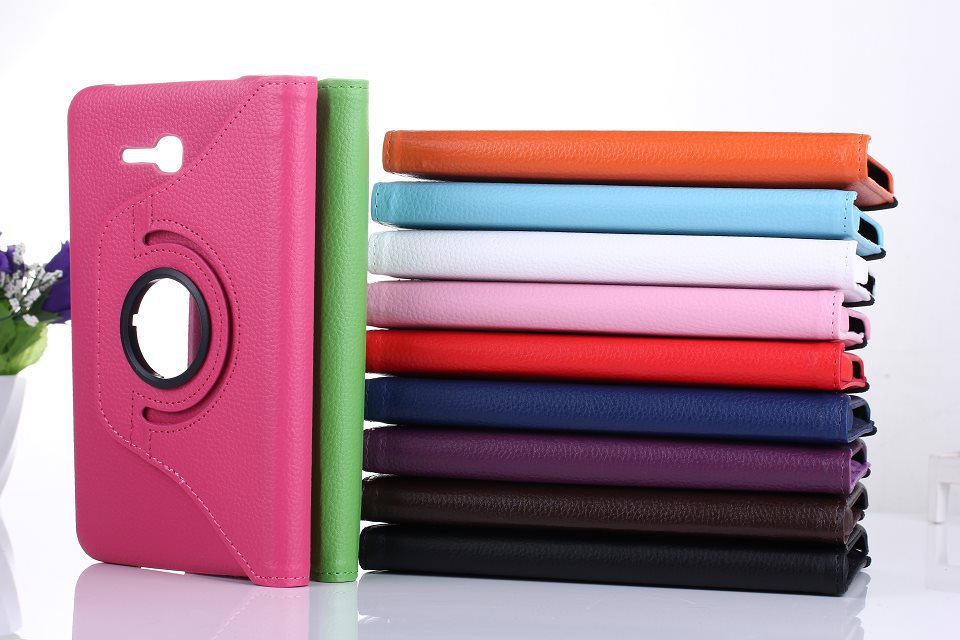 360 Rotating Smart Leather Case for samsung galaxy Tab 3 Lite 7.0 T110 T111/T113 T116 Tablet Stand Flip Folio Cover+stylus+film