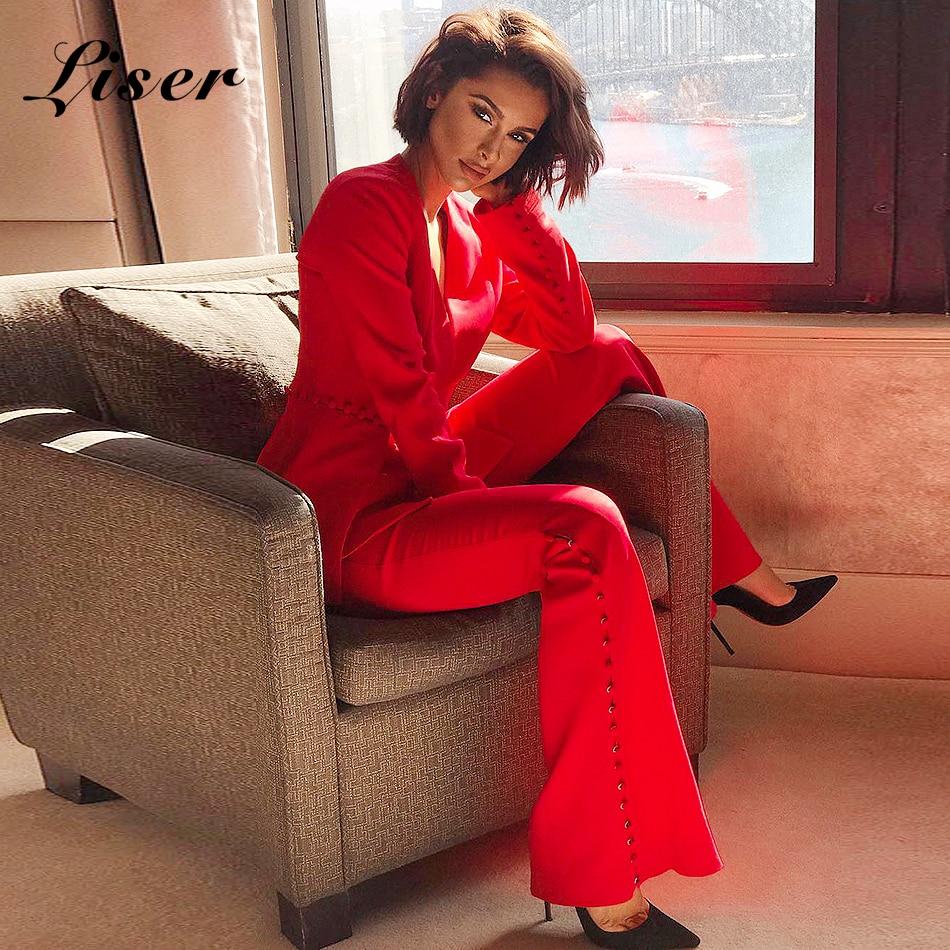 Bouton 2018 Élégante Col V Celebrity En Pièces Veste Summer Rouge Vestes New Sexy Femmes Moulante Deux Liser Robes Party 8qSAdwA