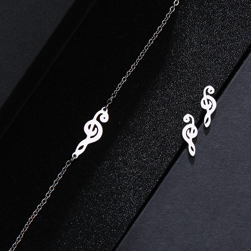 Stainless Steel Music Jewelry Set Necklace Bracelet Earring Treble Clef IMG_1640