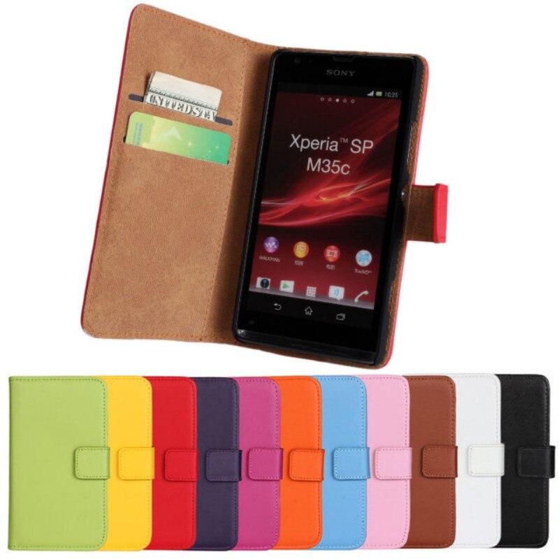 OEEKOI Genuine Leather Wallet Flip Cover Case for Sony Xperia L S36h/P LT22i/V LT25i/M C1905/SP M35h with Card Slot Holder
