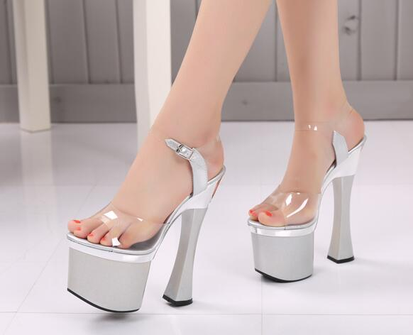 2017 New Model Catwalk Shoes Women Thick Bottom Sandals Shoes 18cm Ultra-high-heeled Sandals Nightclub Thick Soles Platform Shoe sexy temptation to 18 centimeters nightclub high heeled shoes catwalk show reception appeal colourful shoes dance shoes