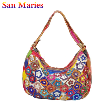 San Maries 2020 High Quality Women's Shoulder Bags Brand Designer Cow Leather Flower Handbags bolsos mujer Casual Messenger Bags