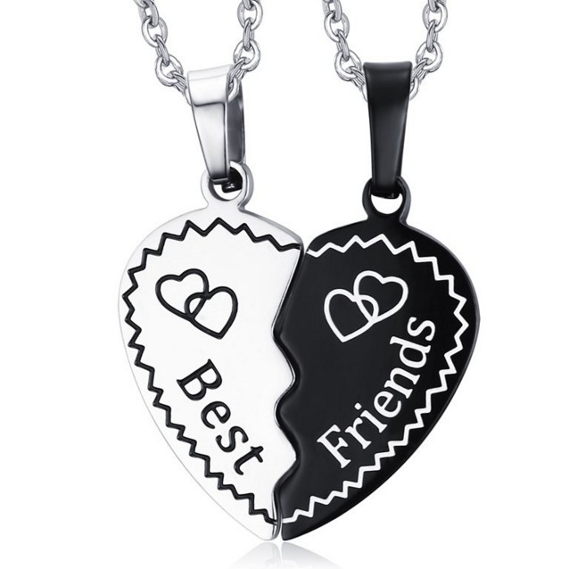 bbb508a14d Two Halves Heart Necklace Pendant Best Friends Forever Friendship Gift For 2  Couple Neckless Double Heart Black White Jewellry