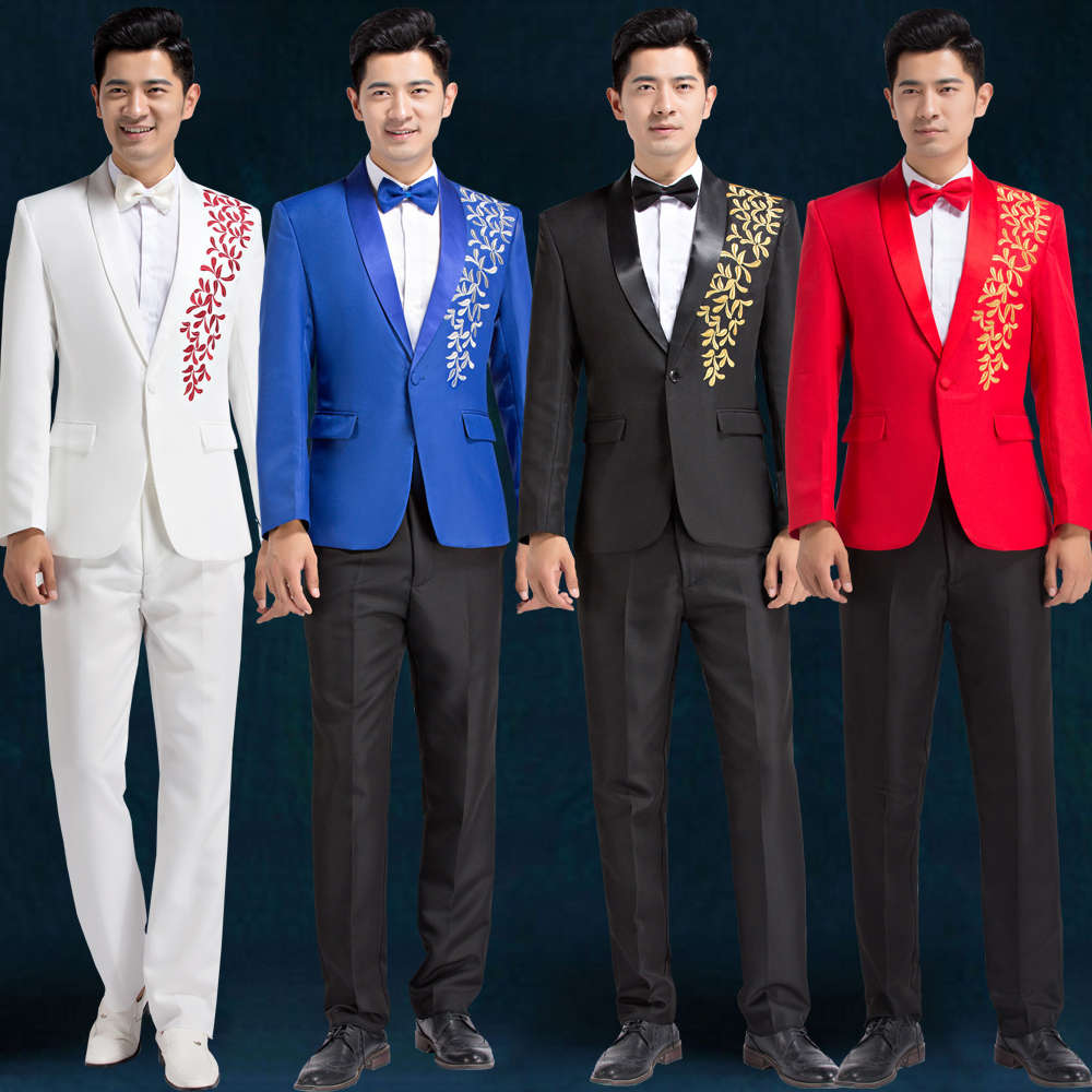 The New Men 's Host Performance Clothing Studio Photo Embroidery Suit Suit