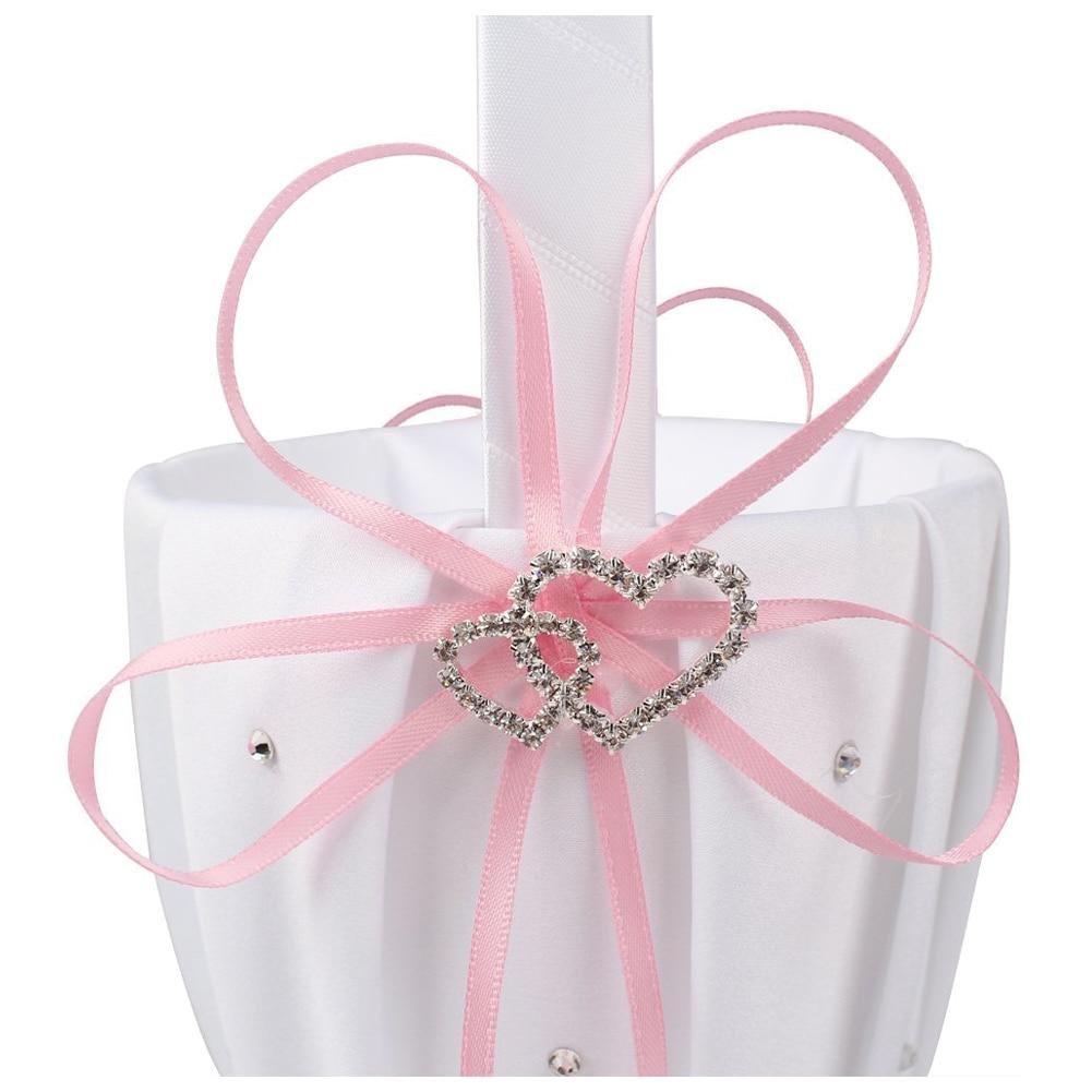 HOT GCZW Double Heart Wedding Flower Girl Basket White Satin ...
