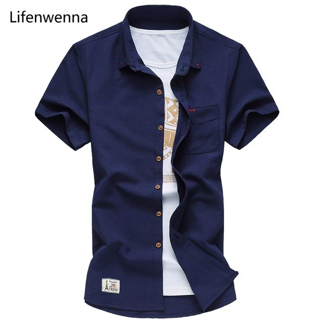 2017 de Alta Qualidade de Manga Curta Camisa Dos Homens Nova Marca de Moda Verão Mens Camisa Casual Slim Fit Sólidos Mens Camisa De Vestido Dos Homens 7XL