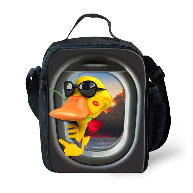 Design da marca quente pato forg animal bonito crianças impressão caixas de isolamento térmico almoço saco zipper tote refrigerador almoço saco de isolamento