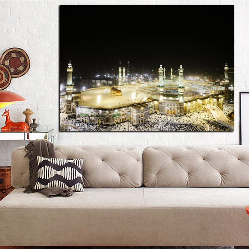 HD Print Pilgrimage to Mecca Wall Canvas Painting Religious Architecture Mecca Faith Europe Cuadros Mural Poster for Living Room (2)