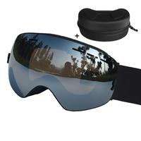 LOCLE Spherical Ski Goggles Double Lens UV400 Anti Fog Ski Glasses Snow Ski Snowboard Eyewear Or
