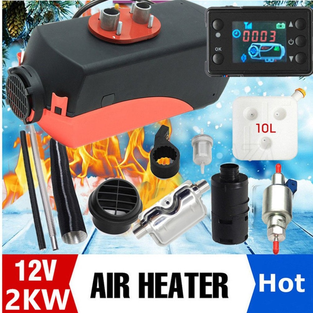 12V 2KW LCD Switch Diesel Air Heater Tank Mini Car Heater Air Parking Heater Vent Duct Thermostat Silencer Caravan Filter Homes universal air intake filter silencer muffler for webasto eberspacher air diesel parking heater tank air filter separator