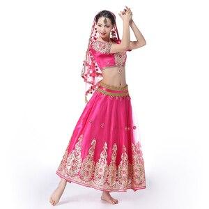 Image 4 - อินเดียชุดบอลลีวูดแบบดั้งเดิมชุดเครื่องแต่งกาย 3pcs ชุด + เข็มขัด + กระโปรงผู้หญิง Belly dance คำชุดเต็มเครื่องแต่งกายเต้นรำ