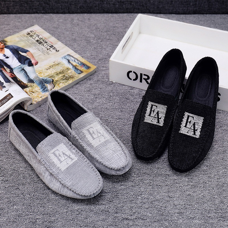 2019 Spring Summer New Casual Men Shoes Solid Color Breathable Round Toe Peas Shoes Lightweight Comfortable Slip on Flat Shoes in Men 39 s Casual Shoes from Shoes