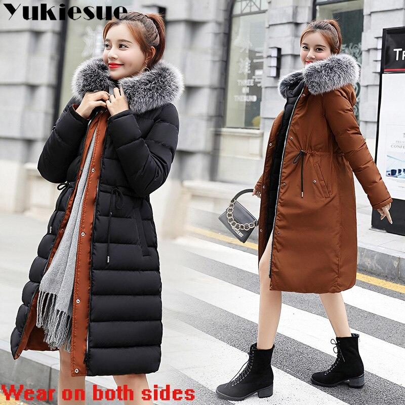 winter jacket women  parka 2018 winter warm plus thick Big faux fur collar hooded coat female Plus size XXXL Women's down jacket