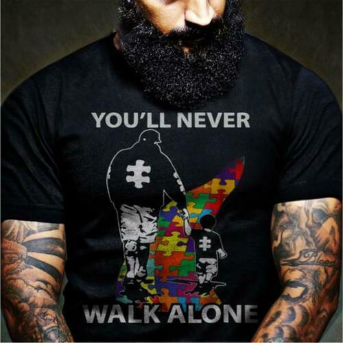 Autism Dad & Son You'll Never Walk Alone Men's Black T Shirt Cotton S-6XL Cool Casual Pride T Shirt Men Unisex Fashion Tshirt