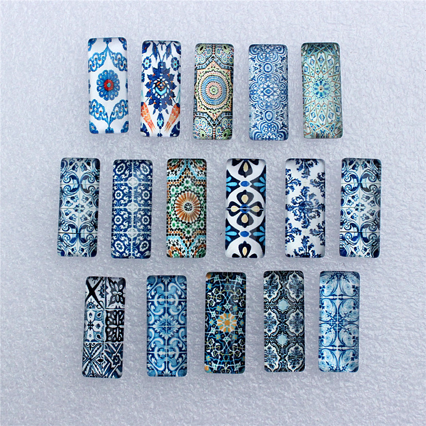 10x25mm Random Mixed Blue And White Porcelain Rectangle Glass Cabochon Dome Flatback Photo DIY Accessories 10pcs/lot K06035