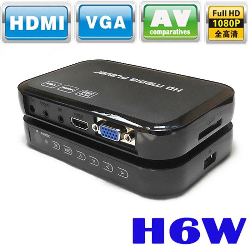 Mini lecteur multimédia Portable Full HD 1080p H6w prend en charge l'hôte USB