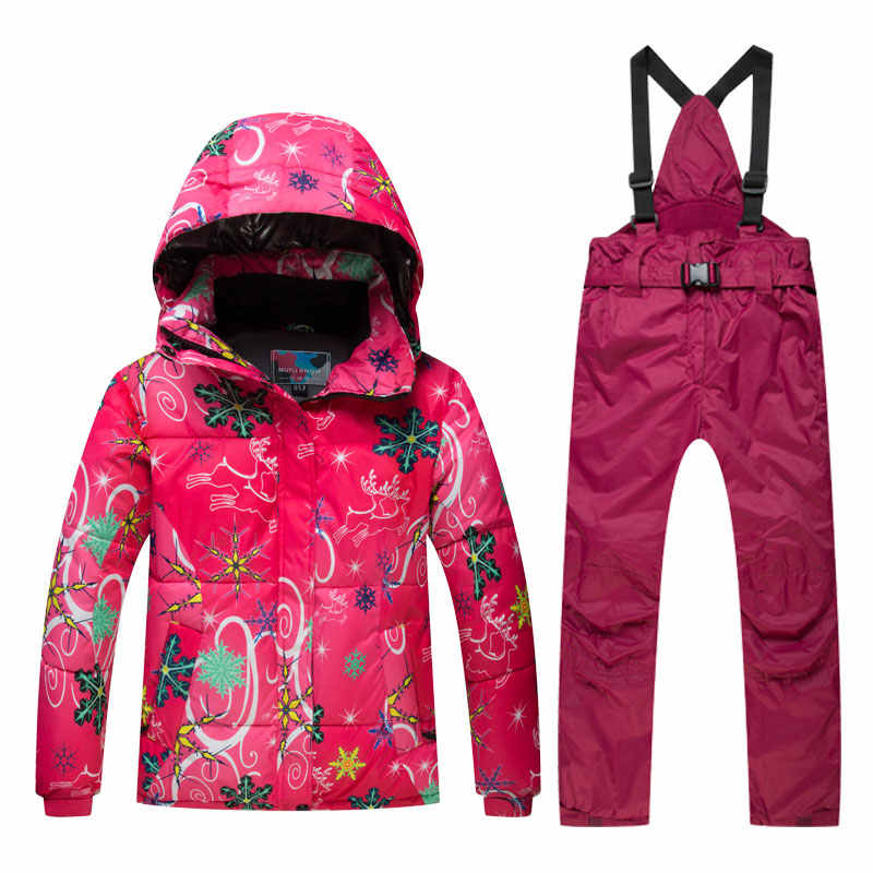 Детский лыжный костюм зимняя детская ветрозащитная Водонепроницаемая супер теплая красочная куртка и штаны для мальчиков и девочек