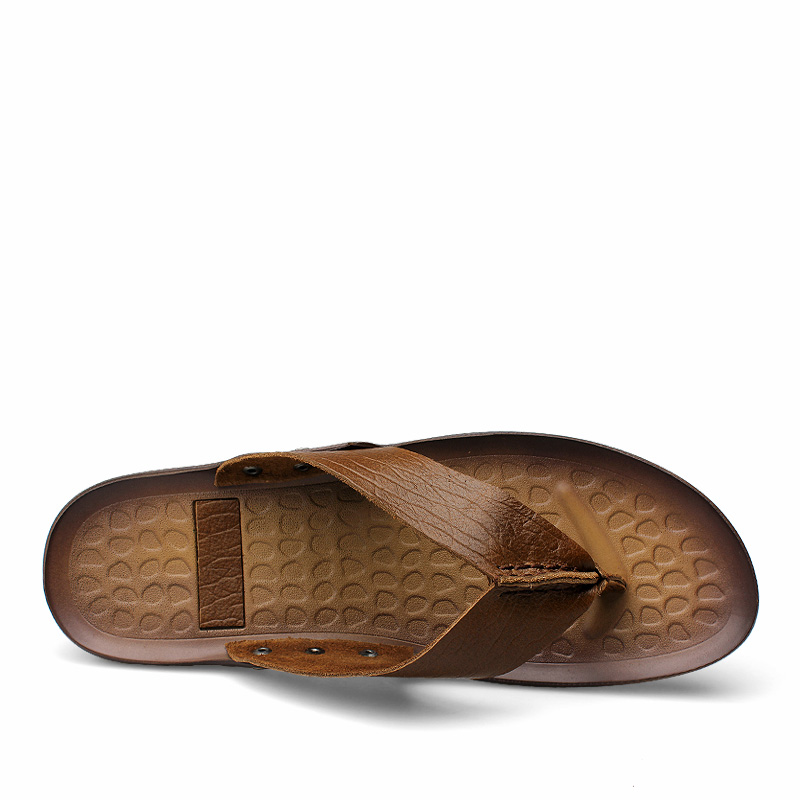 Homens Pico khaki Da De Genuíno Moda Walker Couro Chinelos Novos Praia Para 2018 Sapatos Brown Sandálias Marca Verão Casuais AvaEn