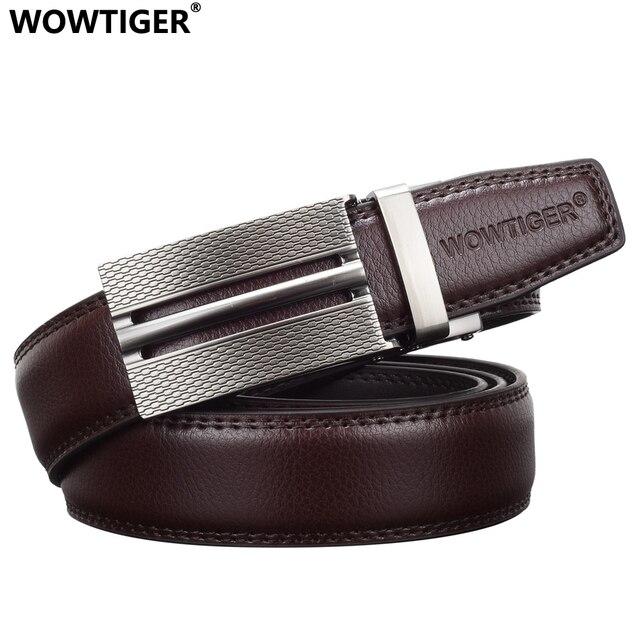 WOWTIGER Nouveau Créateur De Mode Marque De Luxe En Cuir Mâle Hommes  ceinture Automatique Boucle Sangle f1f94fe966a