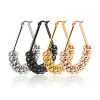 Nowa moda titanium stal czarna perła łańcuch typu big ucha ze stali nierdzewnej złoto różowe złoto hoop kolczyk 20 par/partia hurtownie