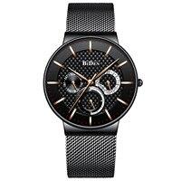 Negócio de aço inoxidável relógio de quartzo homem BIDEN marca à prova d' água relógio de pulso dos homens mens relógios Relógios de quartzo     -
