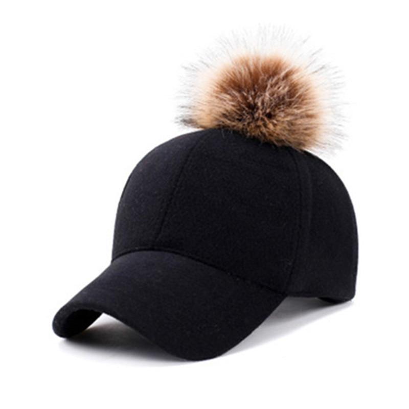 Newest Baseball Cap Women Winter Snapbacks Hip Hop Girls Pom Pom Hat Fashion Warm Female Felt Hats Solid Adjustable Cotton Caps