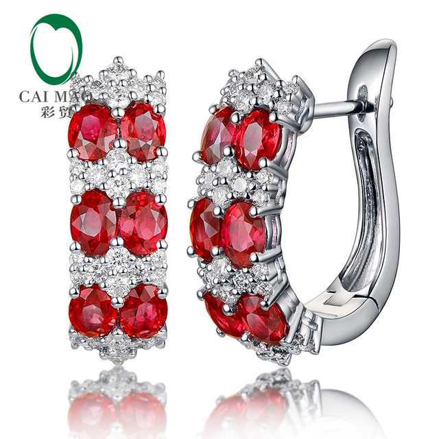 Caimao Natural 2 59ct Red Ruby with 0 74ct Brilliant Cut Diamond 18kt White Gold Earrings.jpg 640x640 - Caimao Natural 2.59ct Red Ruby with 0.74ct Brilliant Cut Diamond 18kt White Gold Earrings for Womens