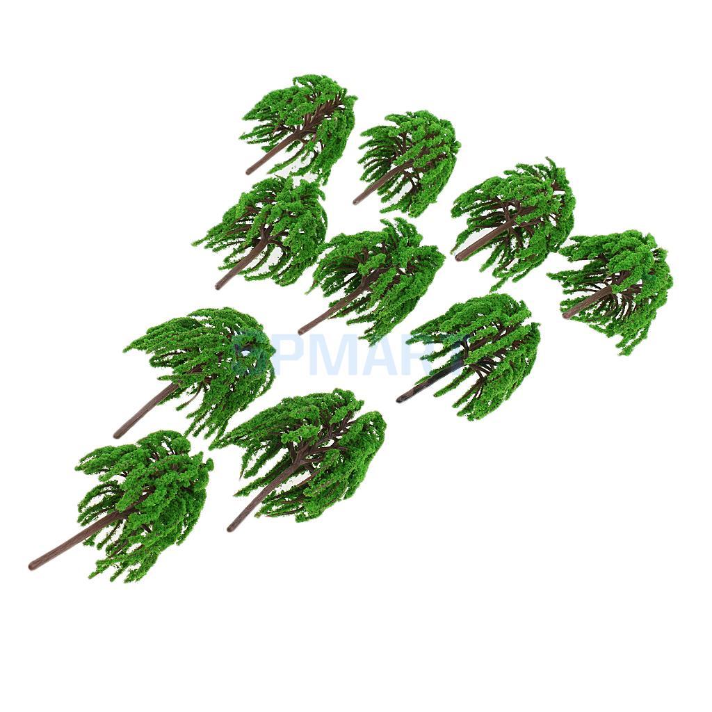 10pcs 3 1:100 Plastic Willow Trees Model Train Railway Scenery Layout HO N