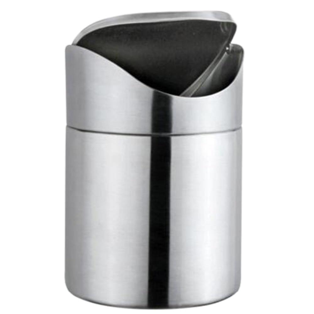 Stainless Steel Mini Desktop Trash Can With Swing Lid Storage Barrels  Rubbish Bin Kitchen Office Wastebasket Silver In Waste Bins From Home U0026  Garden On ...
