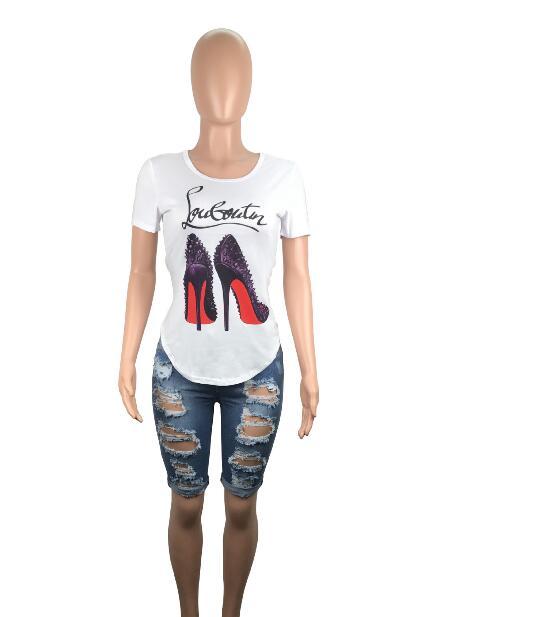 3e23753aaba women tops and tees 2018 summer Shoes Heels Print 3D Funny t shirt o ...