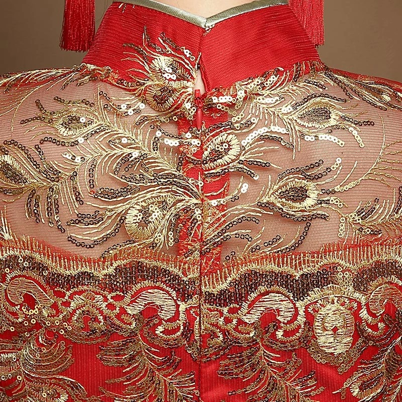 Style chinois fil d'or tulle dentelle tissu broderie phoenix - Vêtements nationaux - Photo 4