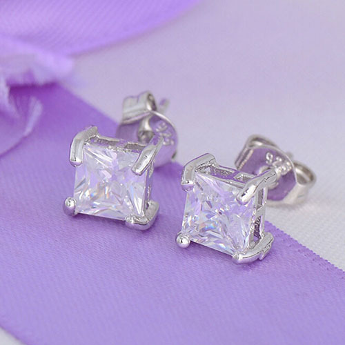 Sterling  Clear Square Cubic Zirconia Ear Studs Earrings