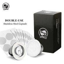 2 ב 1 שימוש Recargables קפה מסנן נירוסטה Nespresso Refillable כמוסה 3pcs + 120 חותמות לשימוש חוזר עבור Essenza מיני