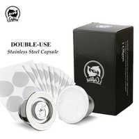 Filtro de café reutilizable 2 en 1 cápsula rellenable Nespresso de acero inoxidable 3 uds + 120 sellos reutilizables para Essenza Mini
