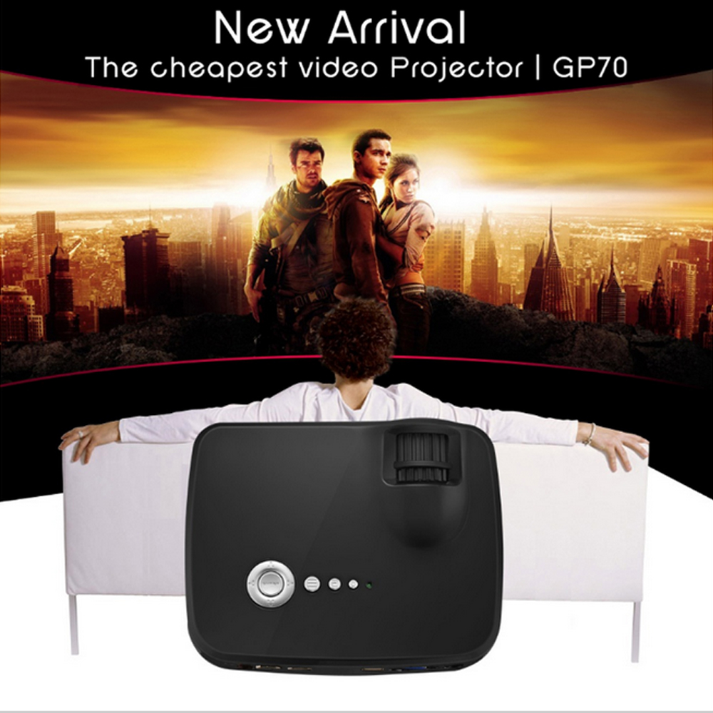 SD card GP70 Portable Pocket LED Projector 1800Lumens 800*480 Support 1920x1080P Analog TV For Home Cinema PK smart tv