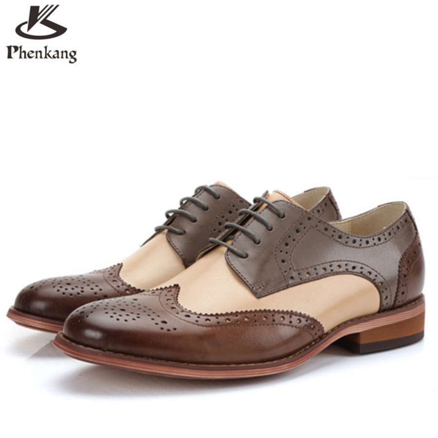 ФОТО 2017 Genuine leather man US size 8.5 designer vintage flat shoes round toe handmade brown black coffee oxford shoes for men