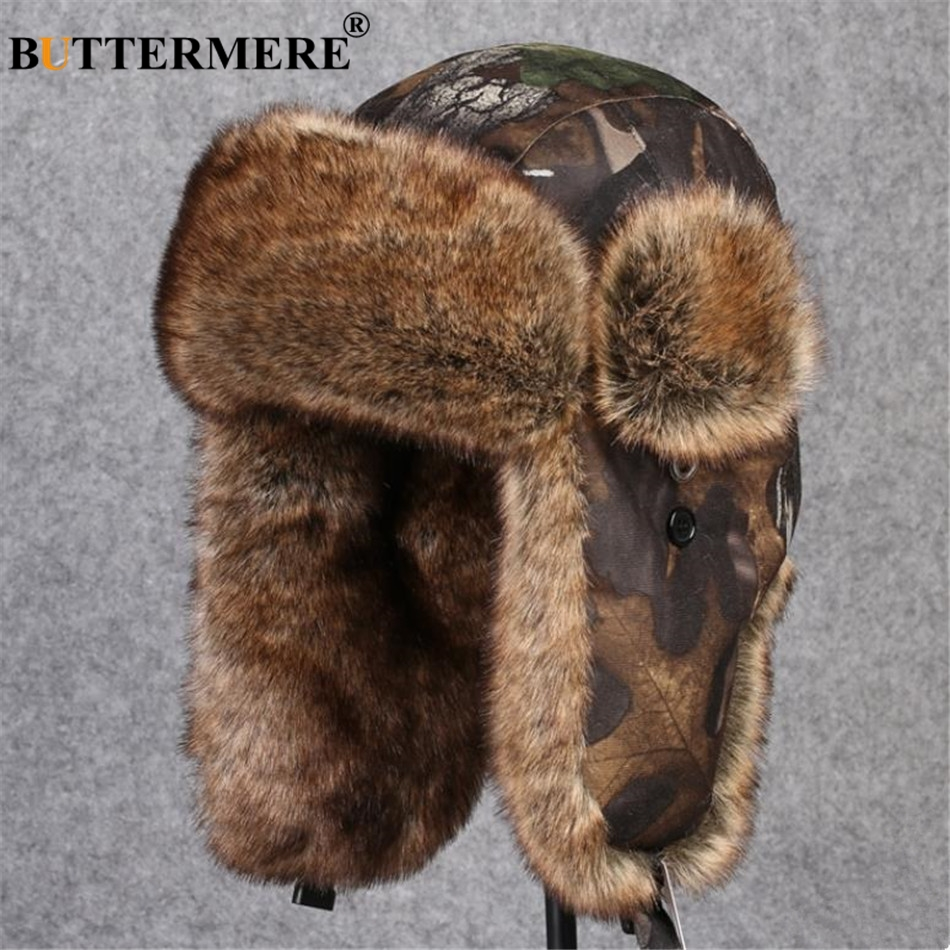 BUTTERMERE Camouflage Bomber Hats Russian Ushanka Hat Fur Winter Pilot Earflaps Cap For Men Women Sports Outdoor Trapper Hats